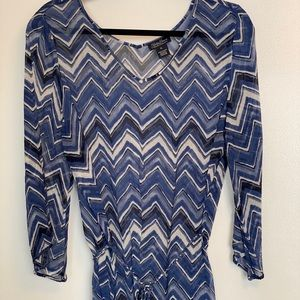 Lucky Brand | Blue Zigzag Silk Top | Size XL